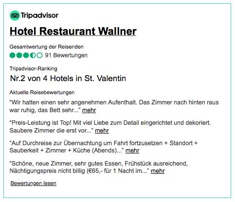 Recensioni di Tripadvisor per Hotel-Restaurant Wallner